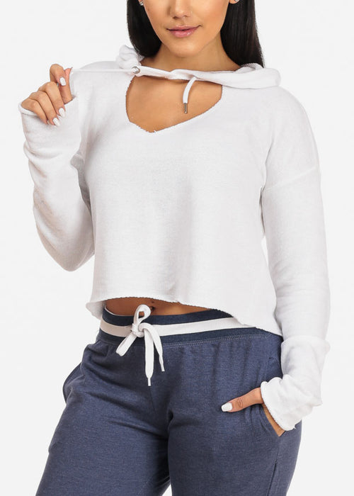 White Cropped Pullover W Hood