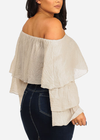Off Shoulder Beige Crop Top