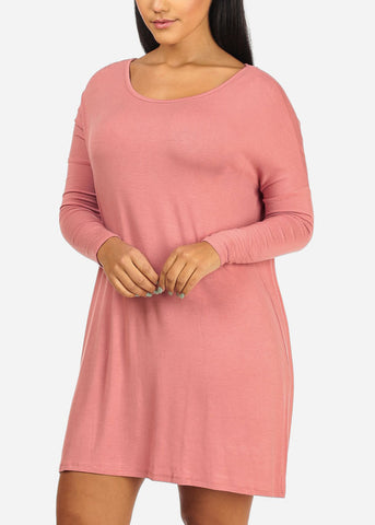Image of Flowy Solid Pink Mini Dress