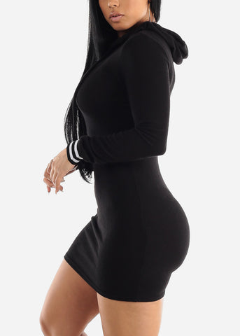 Image of Black Bodycon Thin Sweater Dress W Hood