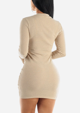 Image of Latte Bodycon Thin Sweater Dress