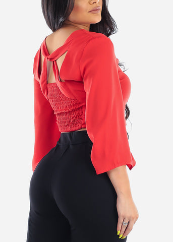 Image of Women's Junior Ladies Sexy Must Have Super Stylish Long Sleeve Button Up Red Crop Top