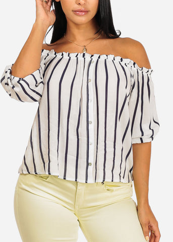 Casual Off Shoulder White Stripe Top