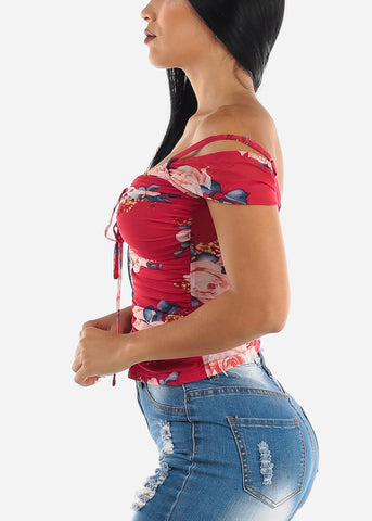 Red Floral Mesh Top