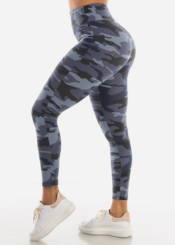 Activewear High Waisted Navy Camouflage Leggings