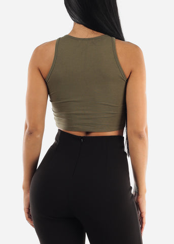 Image of Sleeveless Crop Olive Top