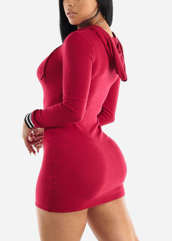 Red Bodycon Thin Sweater Dress W Hood
