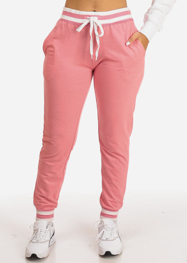 Pink High Rise Stripe Detail Jogger Pants