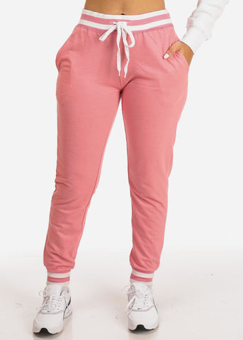 Image of Pink High Rise Stripe Detail Jogger Pants