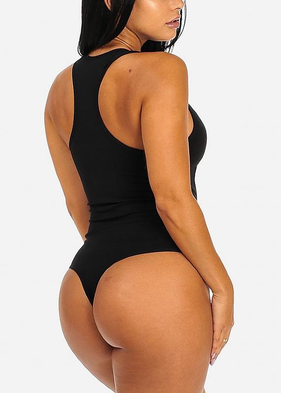 Stretchy Black Racerback Bodysuit