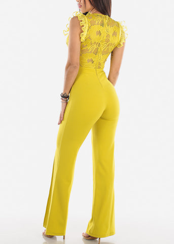 Image of Yellow Ruffle Trim Jumpsuit