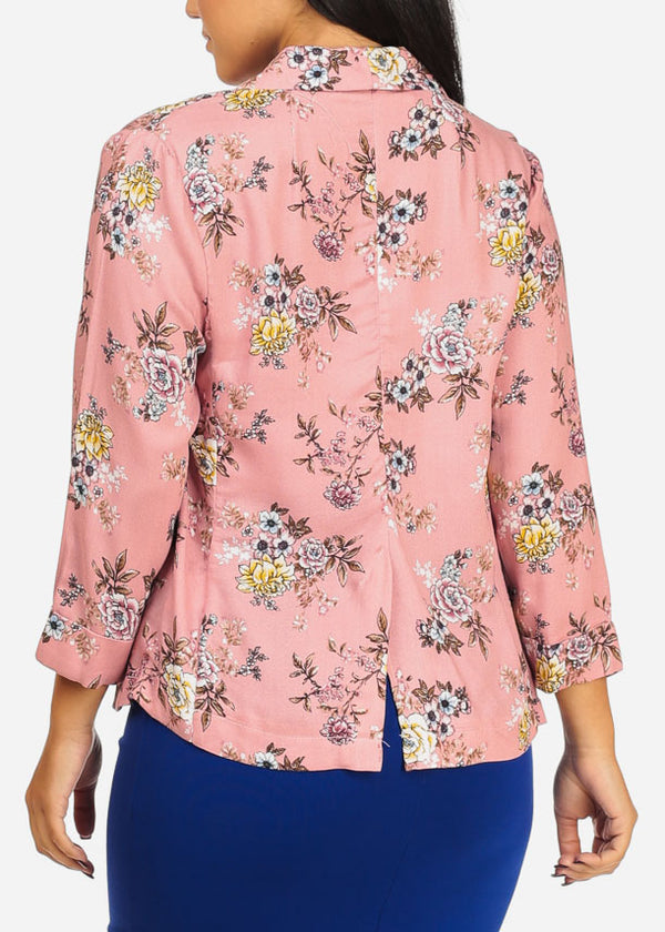 Lightweight Floral Rose Blazer