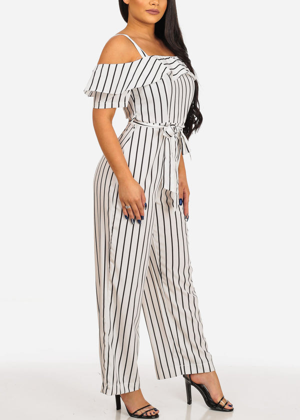 Stylish White Stripe Jumpsuit