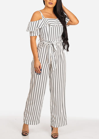 Image of Women's Junior Ladies Sexy Beach Vacation Casual White And Black Stripe Lightweight Jumper