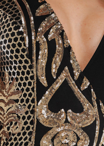 Image of Gold Sequin V-Neck Jumpsuit