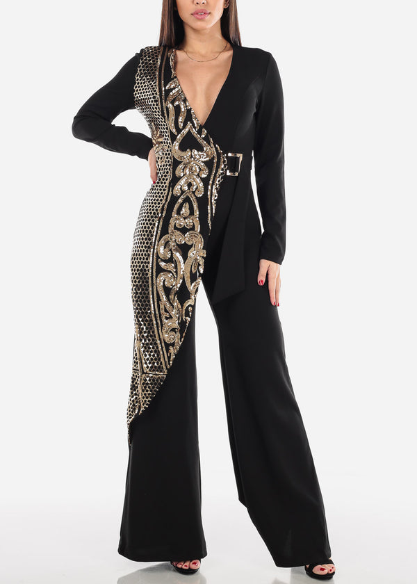 Gold Sequin V-Neck Jumpsuit