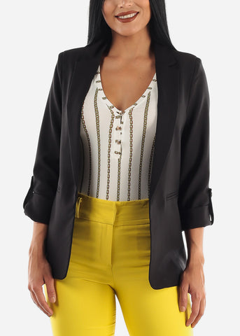 Black Cuffed Sleeve Blazer