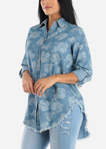 Image of Floral Light Wash Denim Tunic Top