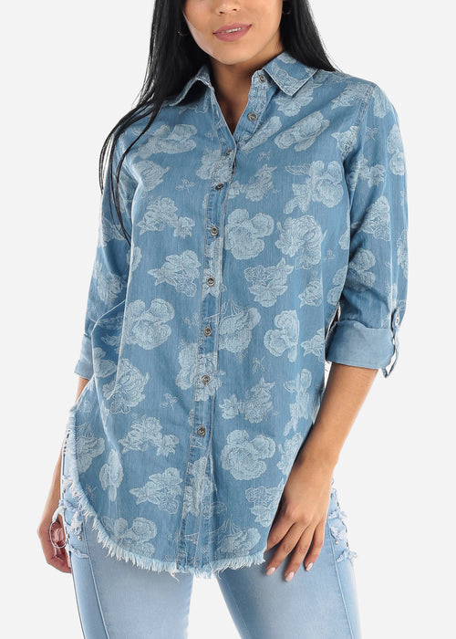 Floral Light Wash Denim Tunic Top