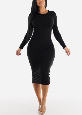Image of Long Sleeve Black Bodycon Midi Dress