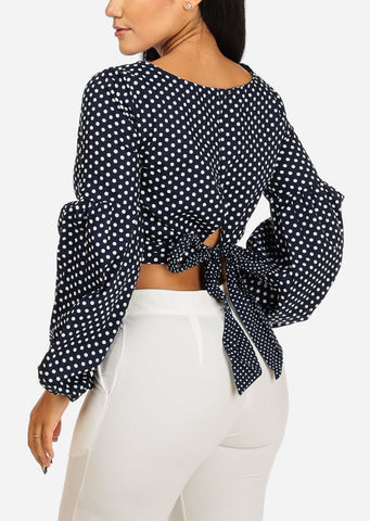 Image of Navy Polka Dot Bishop Sleeve Top