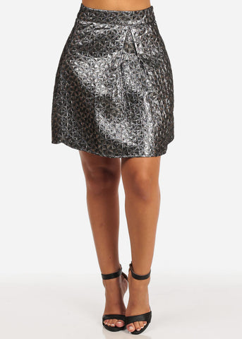 Shiny Print High Rise Charcoal Mini Skirt