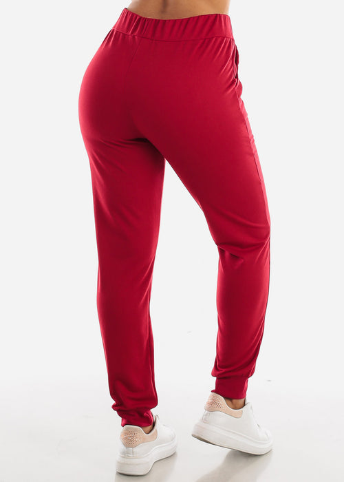 High Waisted Red Jogger Pants