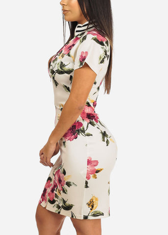 White Floral Front Zipper Dress