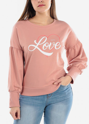 "Mauve Graphic Sweater ""With Love"""