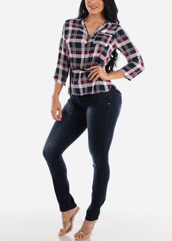 Image of Half Button Up Purple Plaid Top