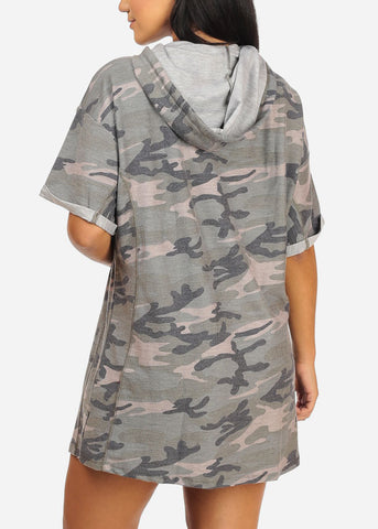Image of Casual Stretchy Camouflage Mini Dress