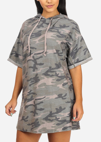 Casual Stretchy Camouflage Mini Dress