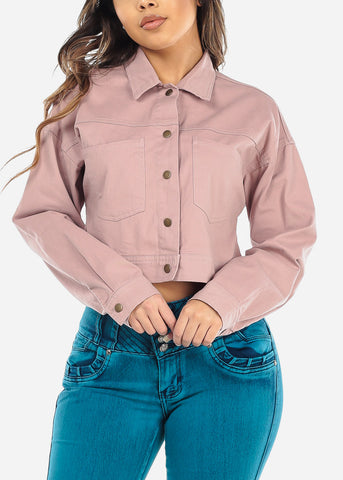 Mauve Cropped Denim Jacket