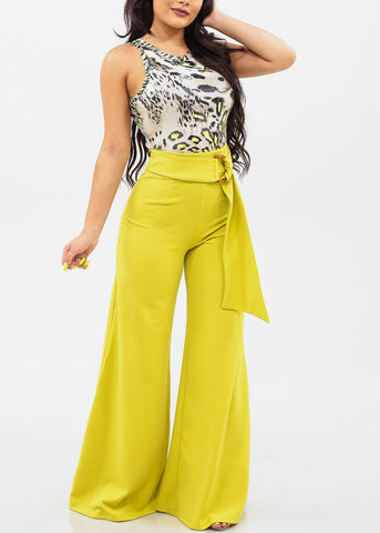 Women's Junior Ladies Sexy Stylish Elegant High Waisted Wide Legged Palazzo Lime Neon Green Dressy Tall Pants