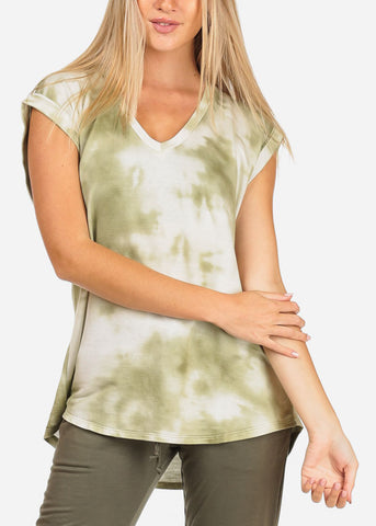 Image of Women's Junior Ladies Casual Cap Sleeve Olive And White Tie Dye Stretchy Soft Comfy Tunic Top