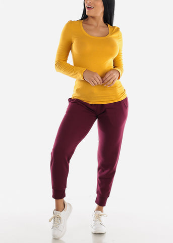 Fleece Burgundy Jogger Sweatpants