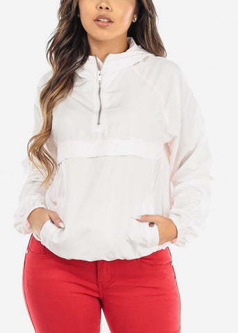 Half Zipper Lightweight White Jacket