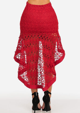 Red High Low Elastic Waist Chrochet Skirt