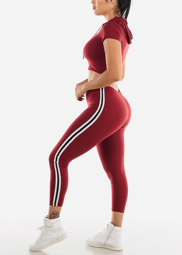 Burgundy  Ribbed Crop Hoodie & Leggings (2 PCE SET)
