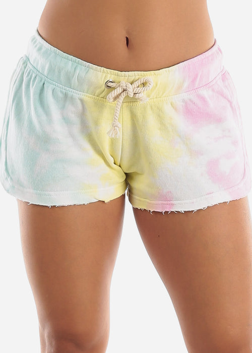 Dolphin Hem Yellow Tie Dye Shorts