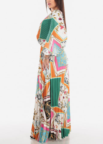 Kimono Sleeve Pleated Maxi Dress
