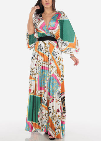 Image of Kimono Sleeve Pleated Maxi Dress