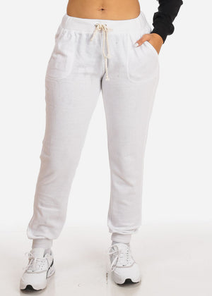 White High Rise Drawstring Waist Jogger Pants