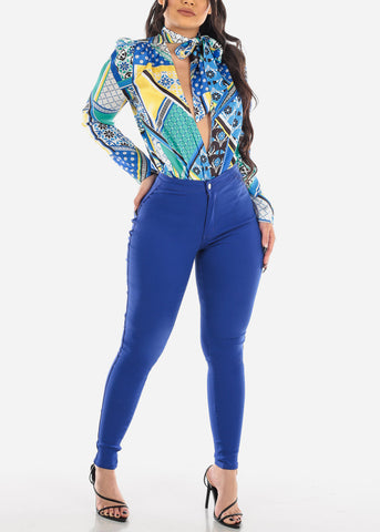 Tie Neck Blue Abstract Bodysuit