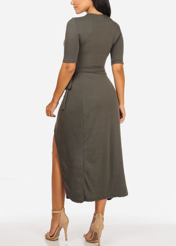 Sexy Olive Front Slit Maxi Dress
