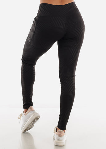 Image of Black Stripe Activewear Leggings
