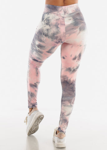 Image of Grey Tie Dye Leggings