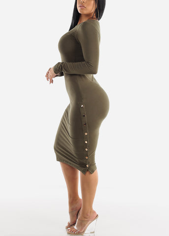 Image of Long Sleeve Olive Bodycon Midi Dress