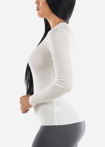 Image of Cozy Classic Ribbed White Sweater