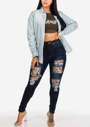 Turnup Graphic Olive Crop Top